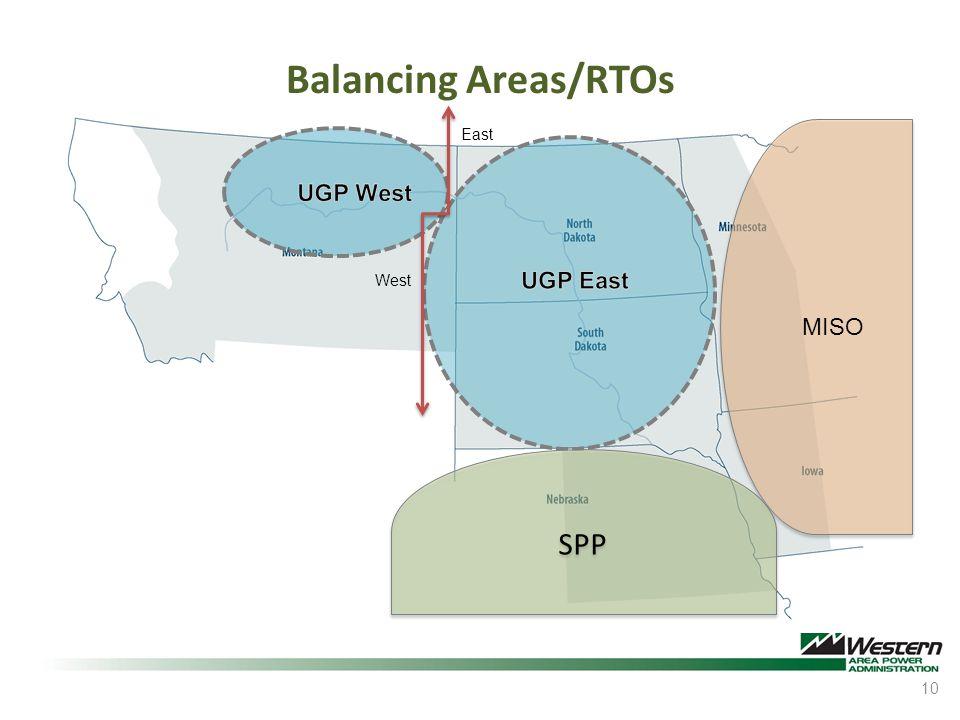 Balancing Areas/RTOs East UGP West West UGP East MISO SPP