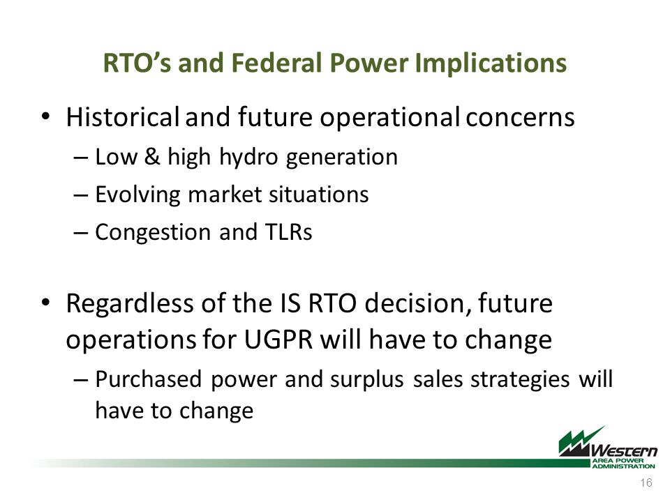 RTO's and Federal Power Implications