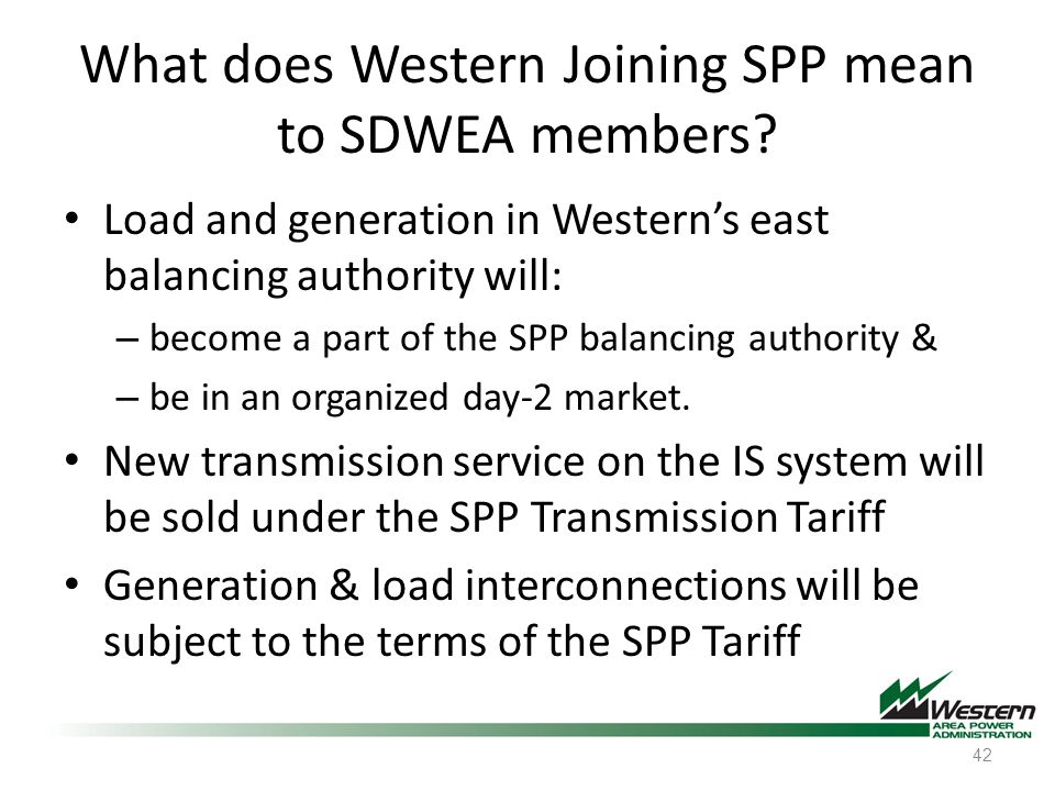 What does Western Joining SPP mean to SDWEA members