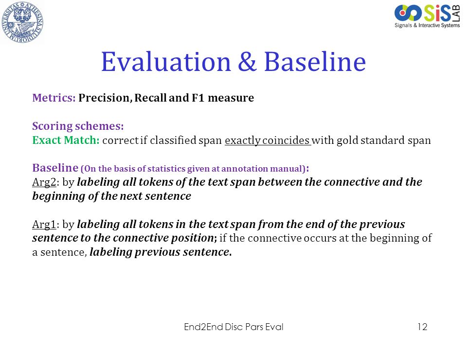 Evaluation & Baseline Metrics: Precision, Recall and F1 measure