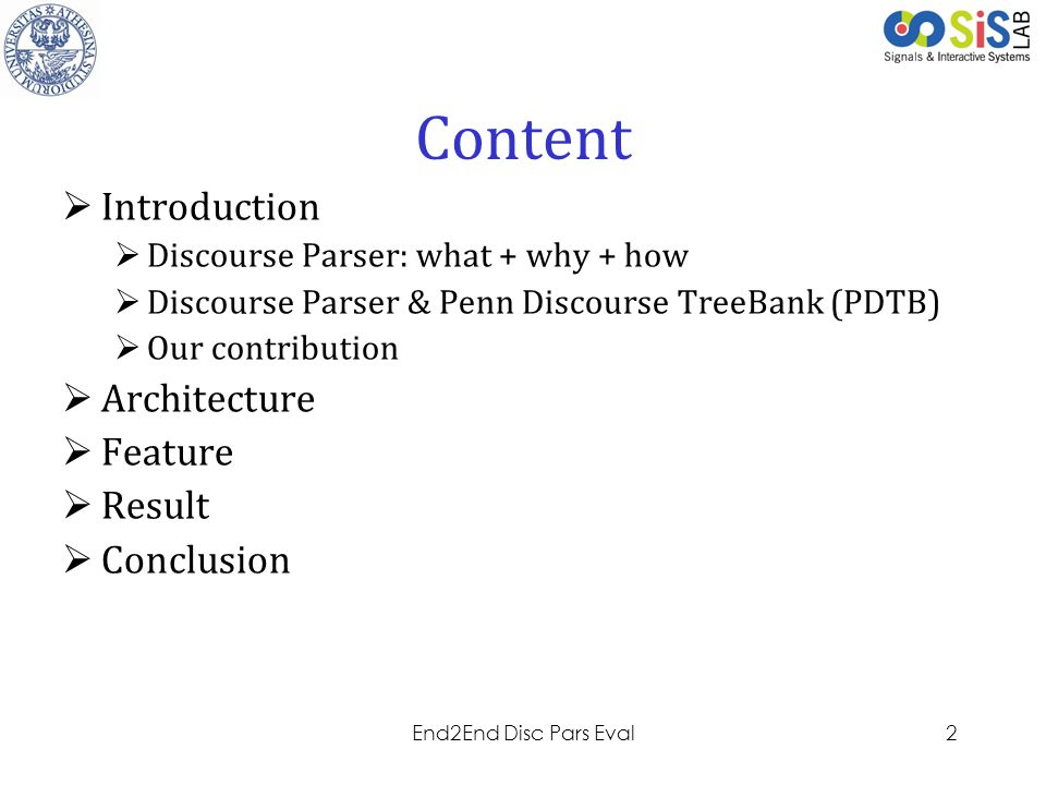 Content Introduction Architecture Feature Result Conclusion