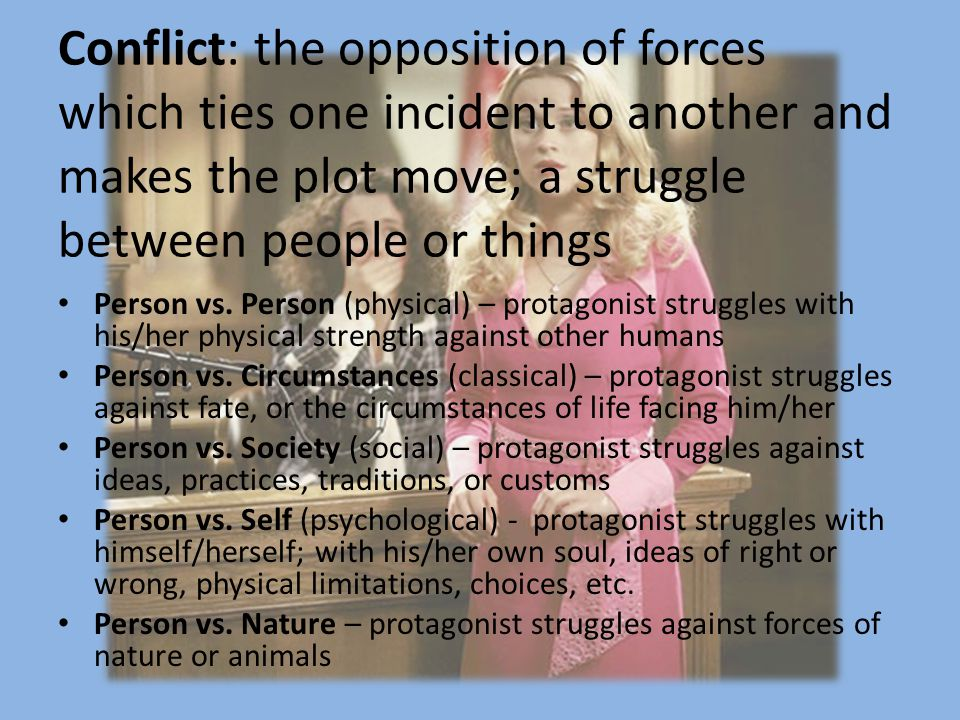 Conflict: the opposition of forces which ties one incident to another and makes the plot move; a struggle between people or things