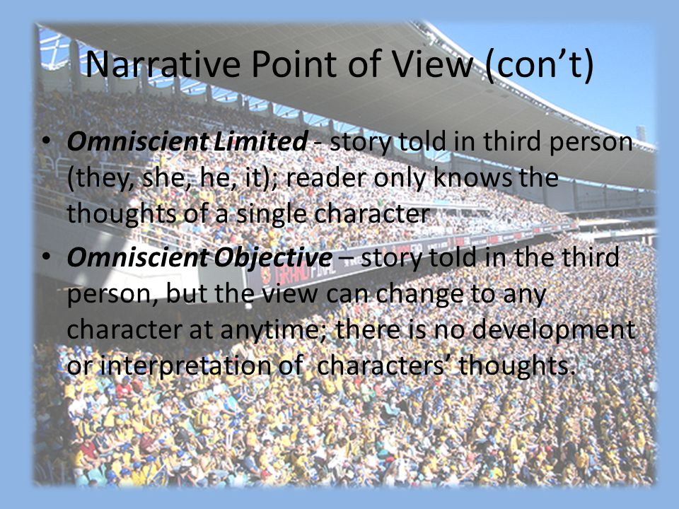 Narrative Point of View (con't)