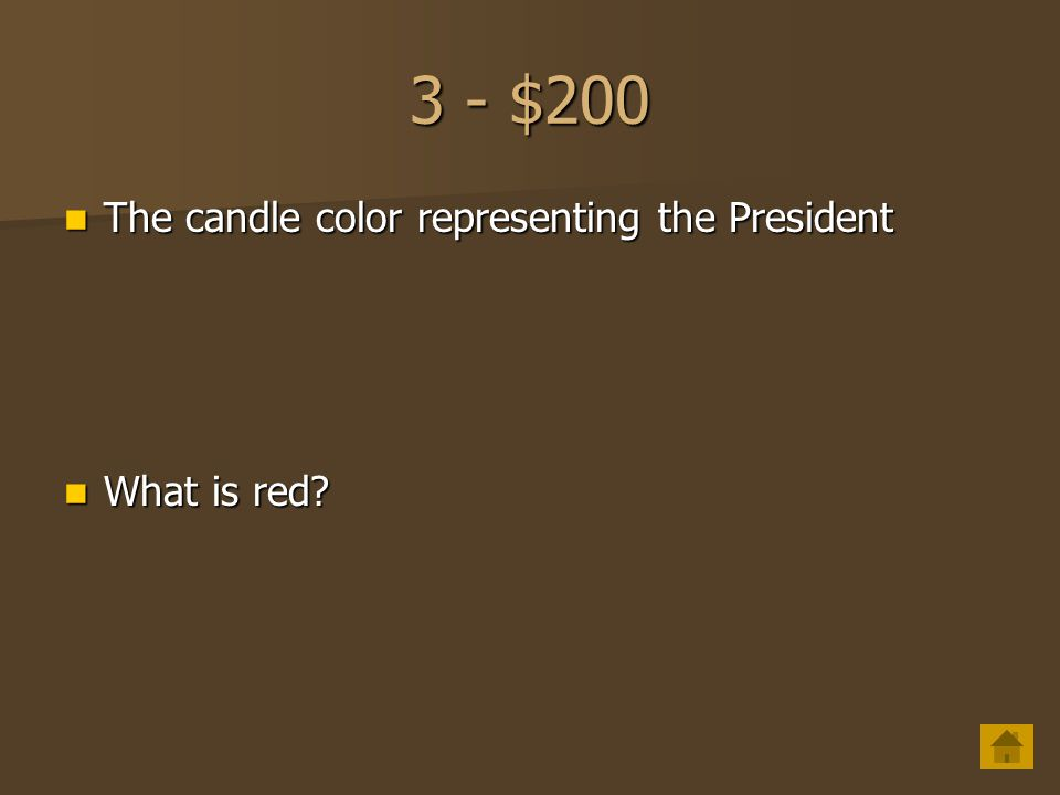 3 - $200 The candle color representing the President What is red