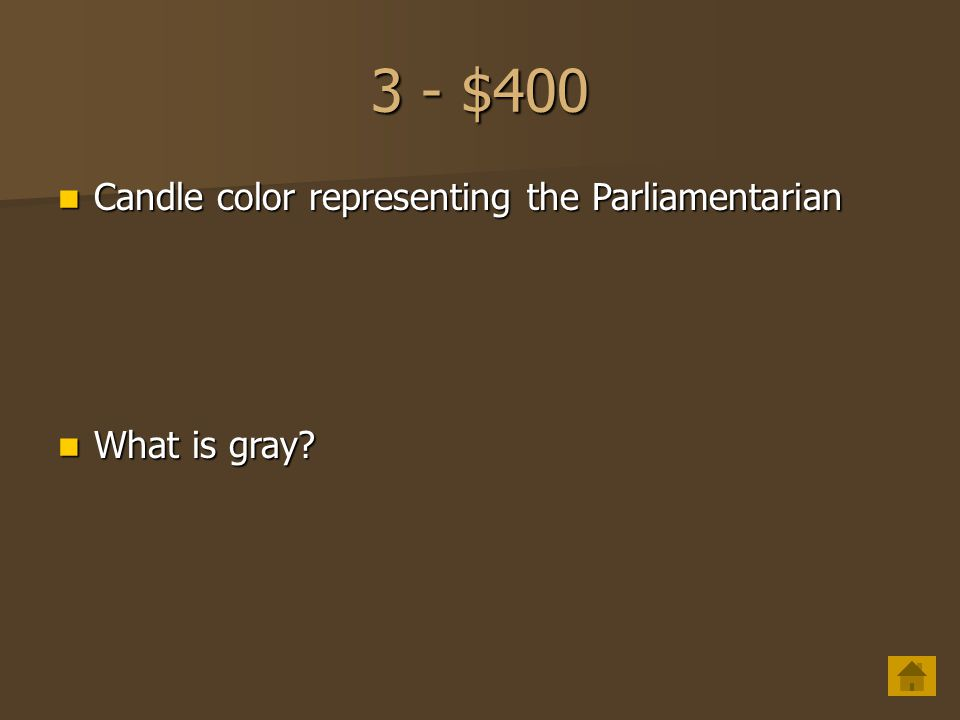 3 - $400 Candle color representing the Parliamentarian What is gray