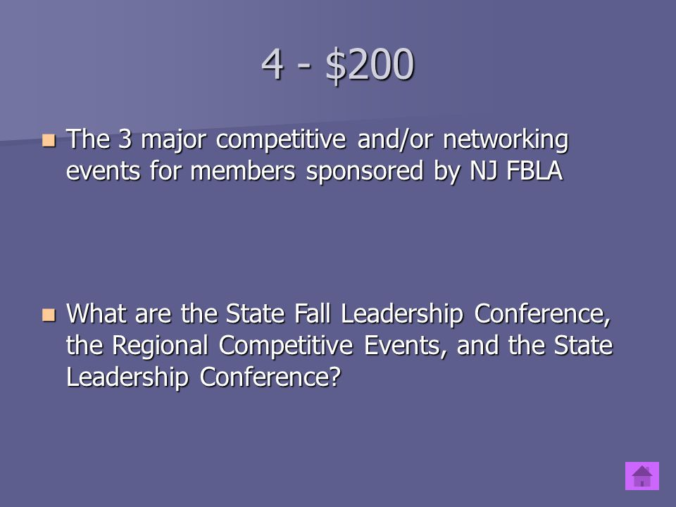 4 - $200 The 3 major competitive and/or networking events for members sponsored by NJ FBLA.