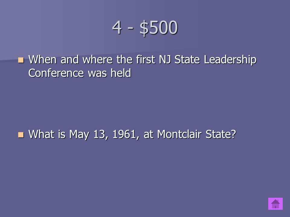 4 - $500 When and where the first NJ State Leadership Conference was held.