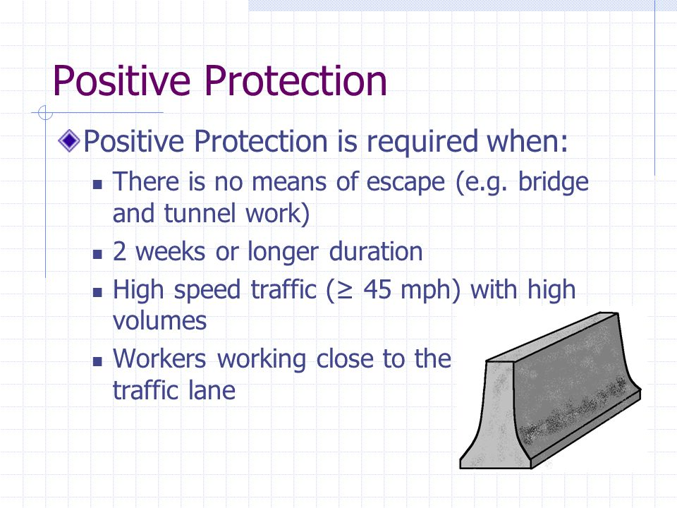 Positive Protection Positive Protection is required when: