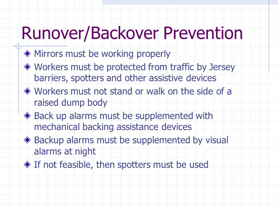Runover/Backover Prevention