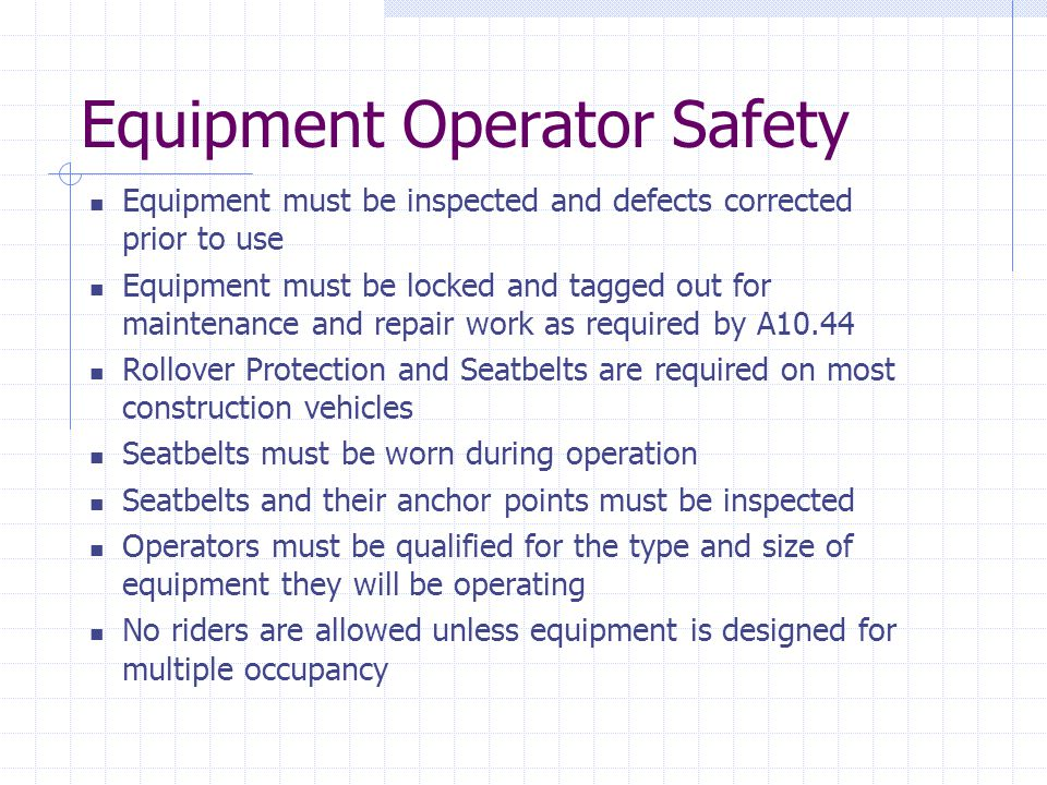 Equipment Operator Safety