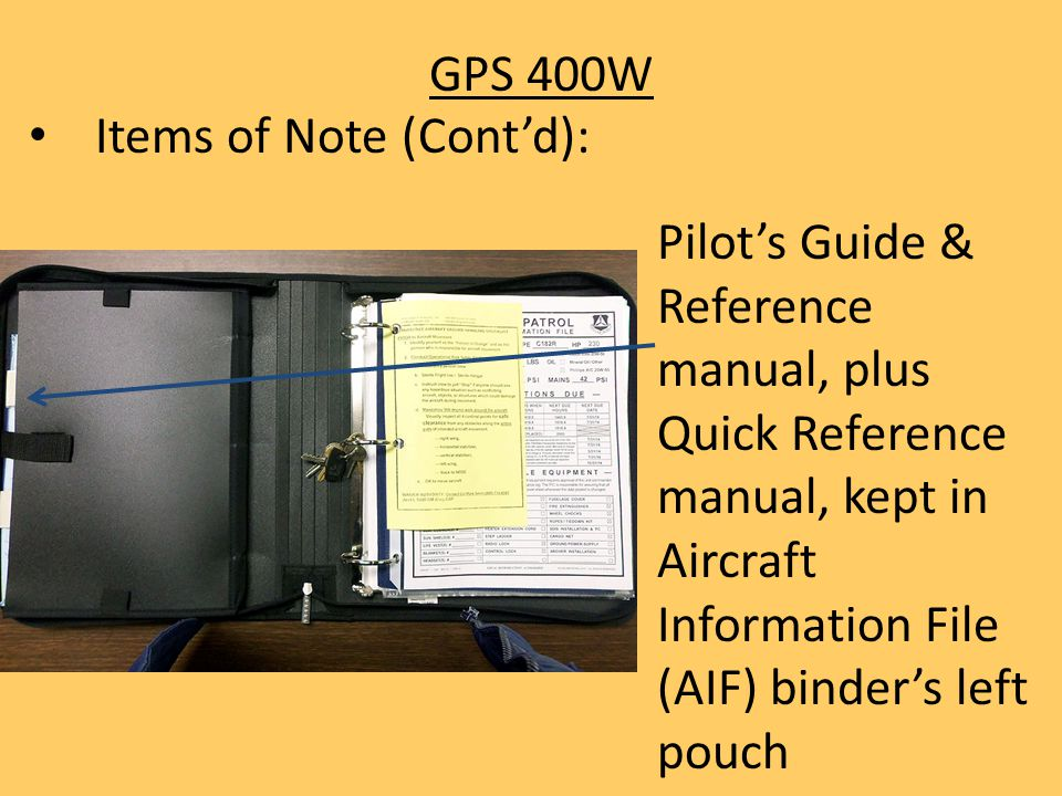 GPS 400W Items of Note (Cont'd):