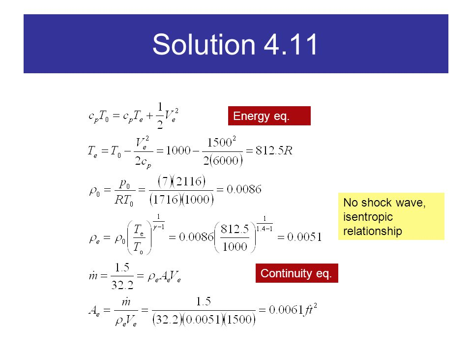 Solution 4.11 Energy eq. No shock wave, isentropic relationship
