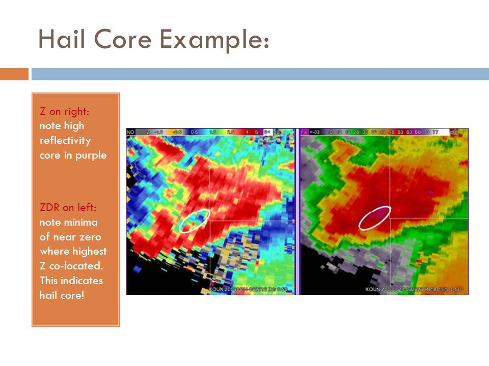 Hail Core Example: Z on right: note high reflectivity core in purple