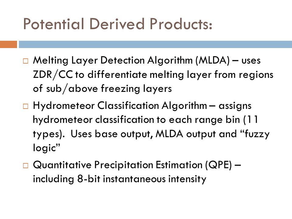Potential Derived Products: