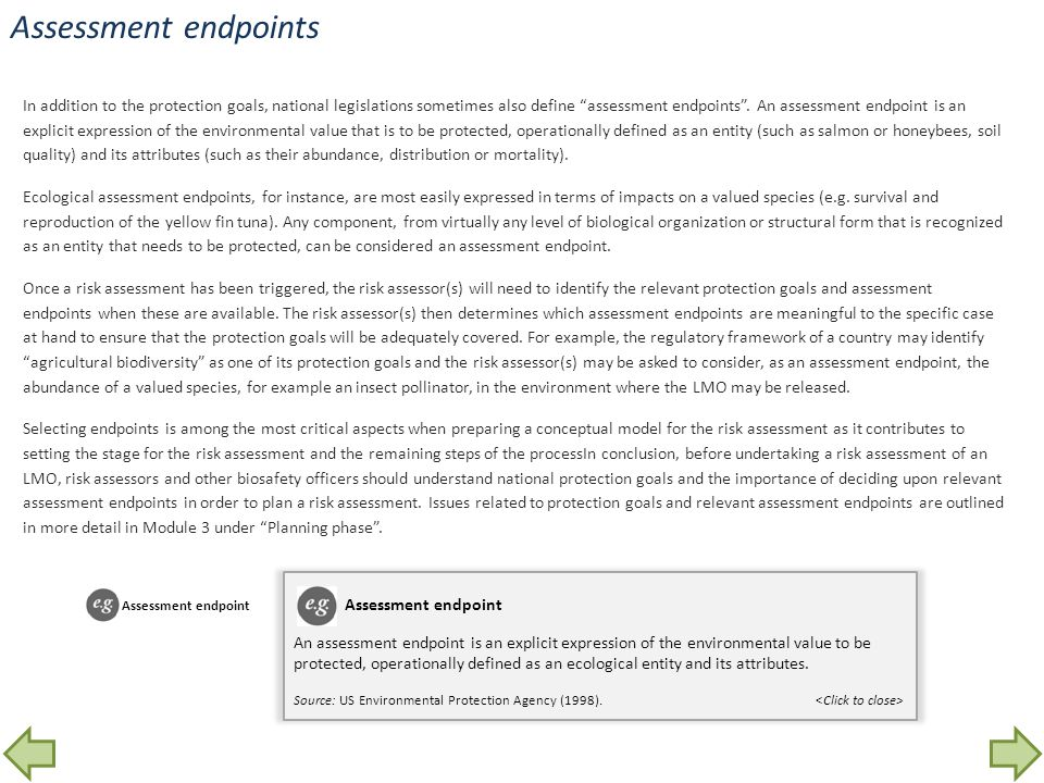 Assessment endpoints