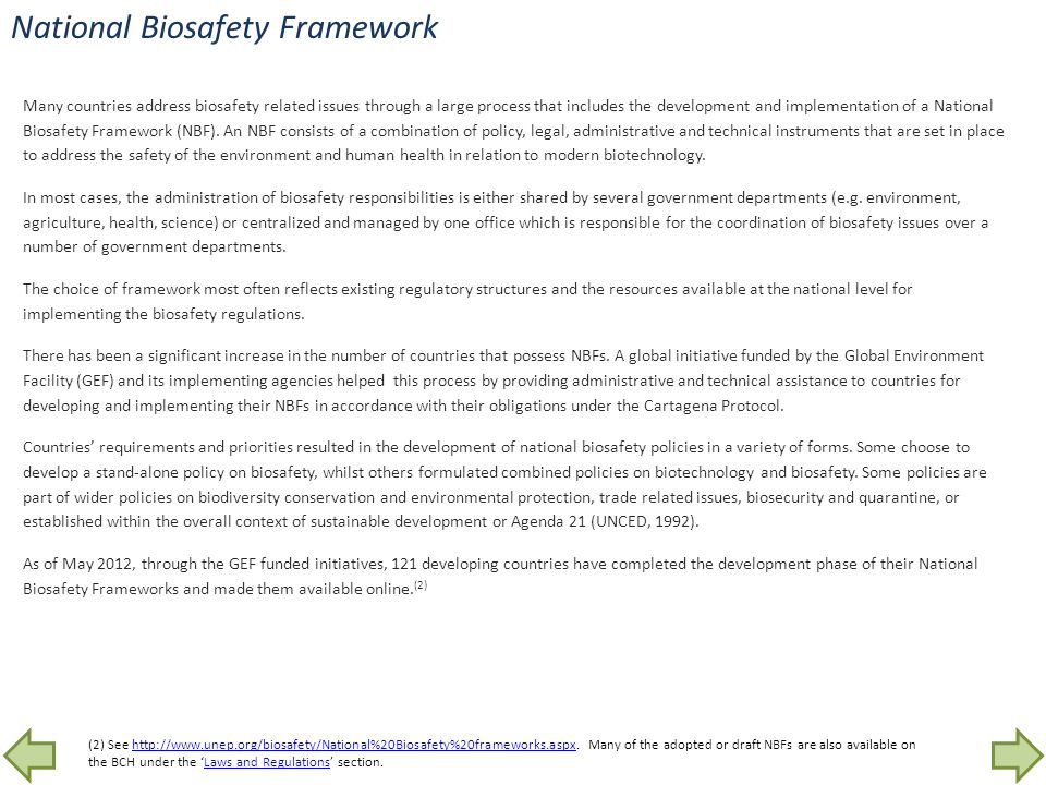 National Biosafety Framework