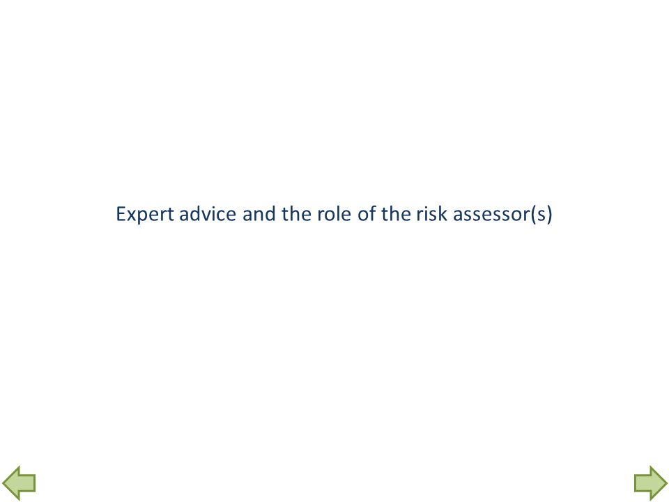 Expert advice and the role of the risk assessor(s)