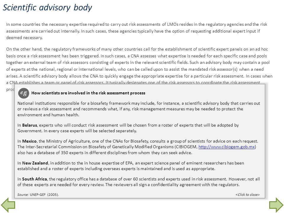 Scientific advisory body