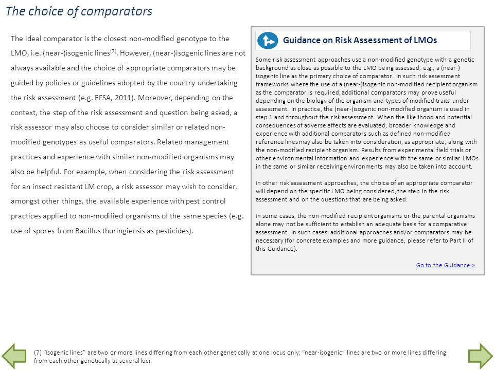 The choice of comparators