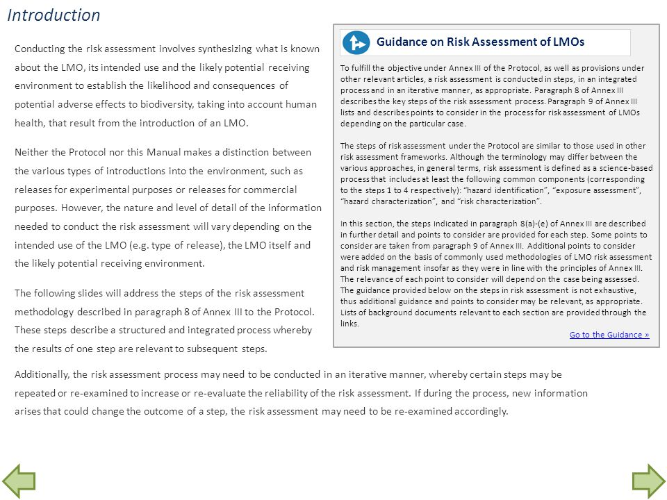 Introduction Guidance on Risk Assessment of LMOs