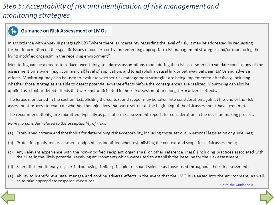 Step 5: Acceptability of risk and identification of risk management and monitoring strategies