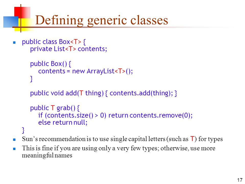 Defining generic classes