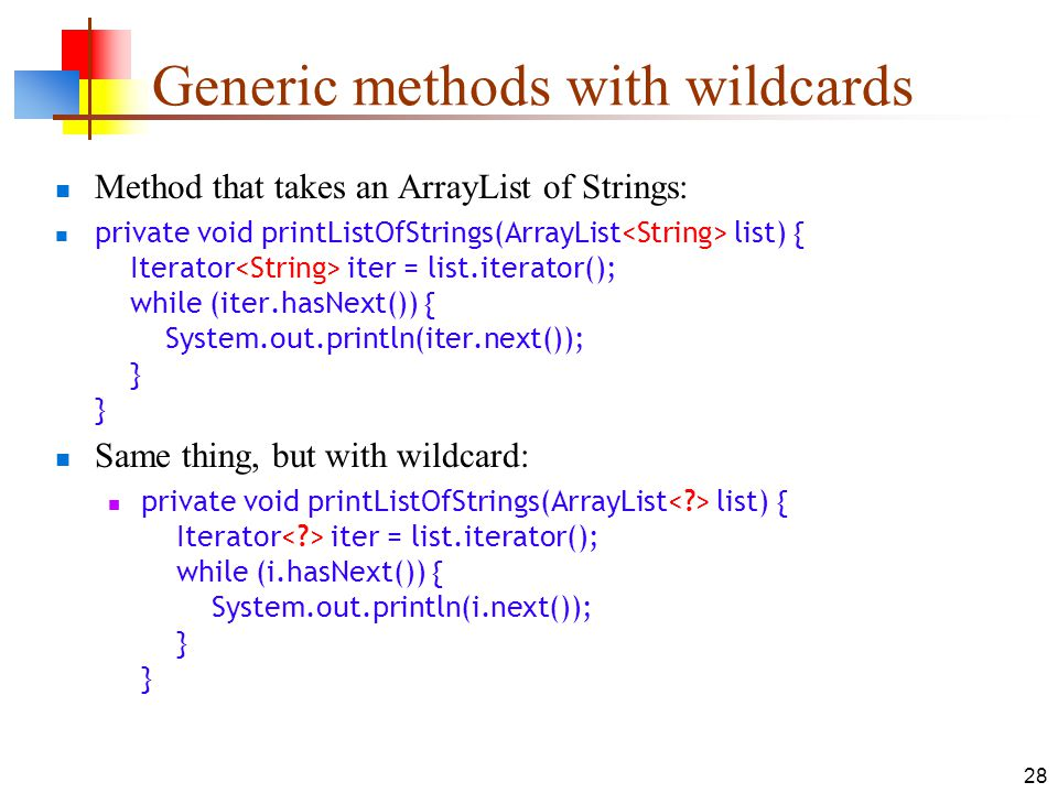 Generic methods with wildcards