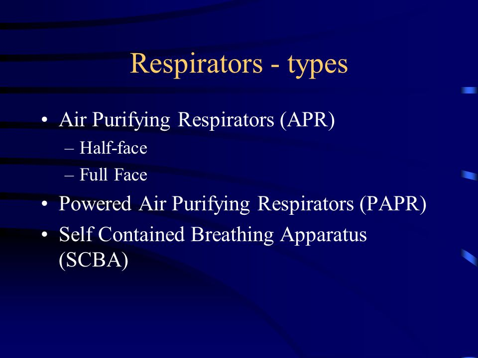 Respirators - types Air Purifying Respirators (APR)