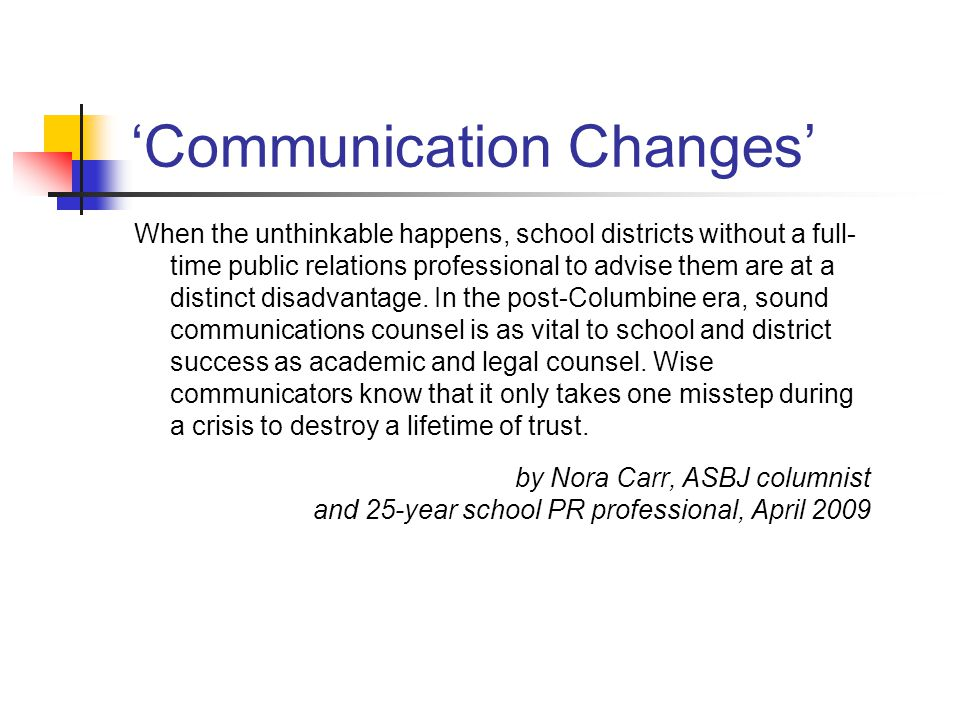 'Communication Changes'