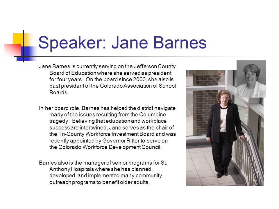 Speaker: Jane Barnes