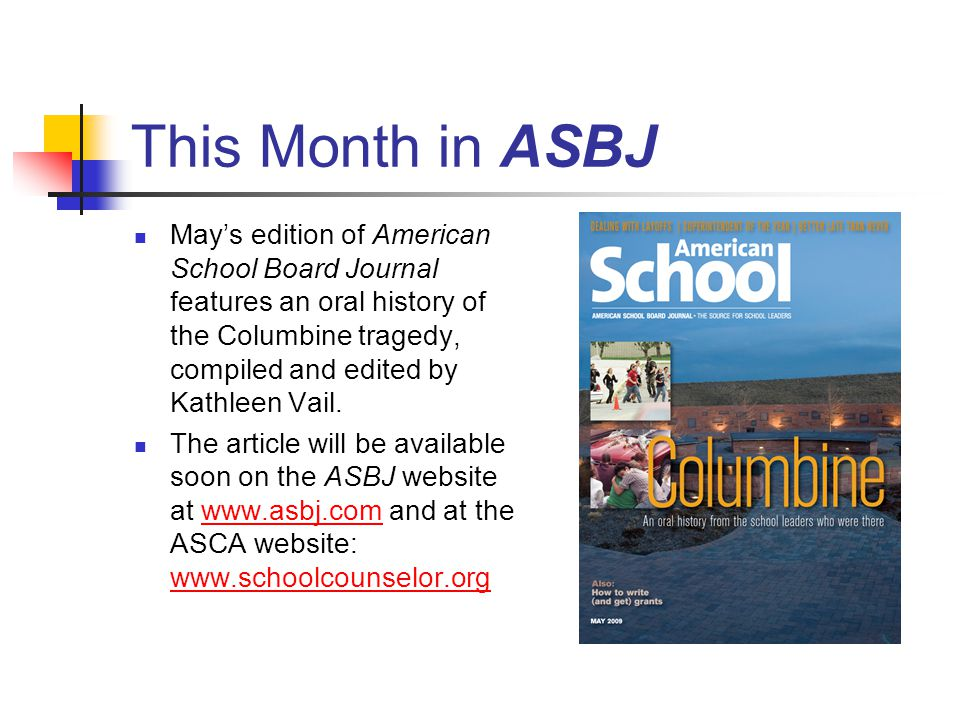 This Month in ASBJ