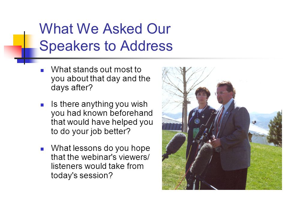 What We Asked Our Speakers to Address