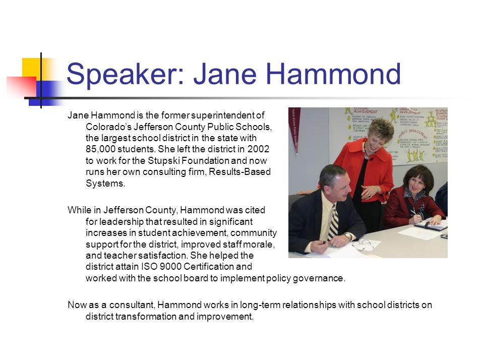 Speaker: Jane Hammond