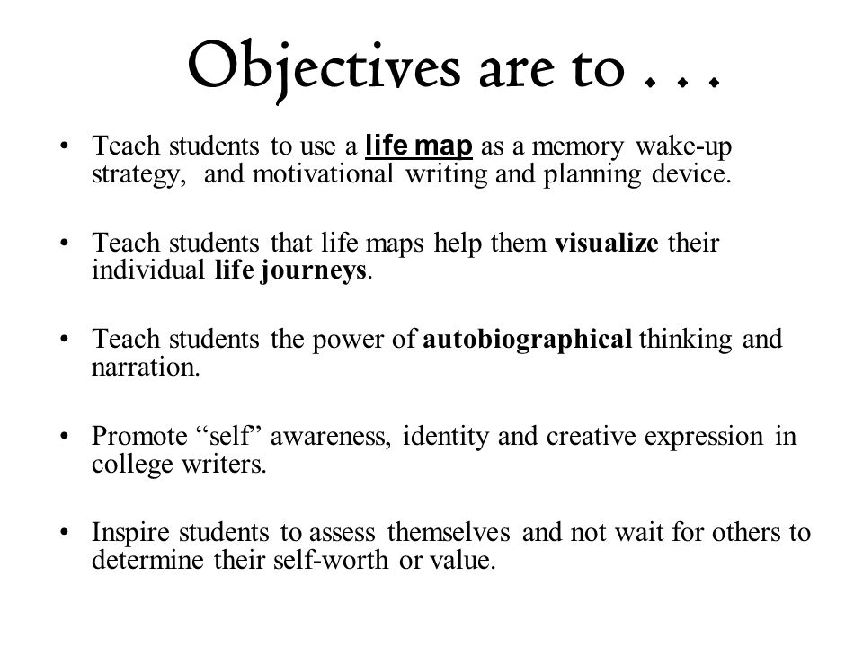 Objectives are to . . . Teach students to use a life map as a memory wake-up strategy, and motivational writing and planning device.
