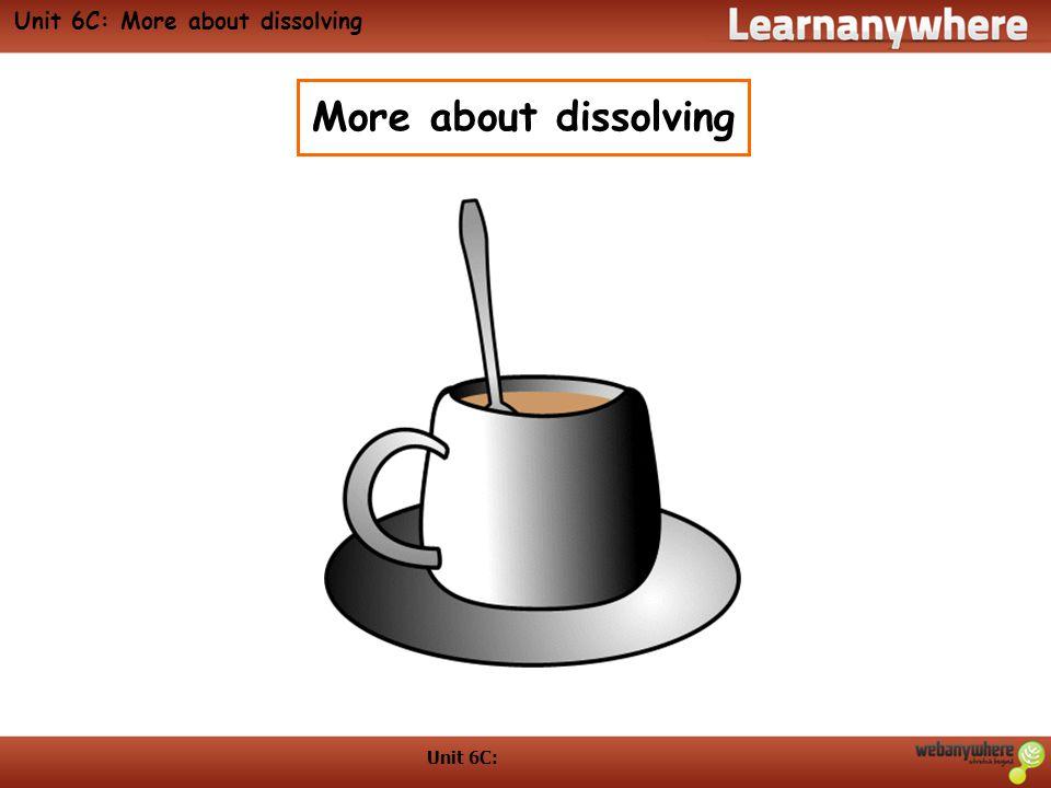 Unit 6C: More about dissolving