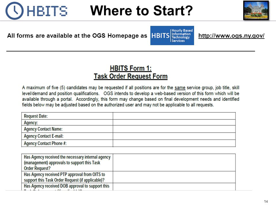 Where to Start Form 1: Task Order Request Form