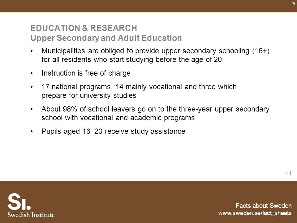 EDUCATION & RESEARCH Upper Secondary and Adult Education