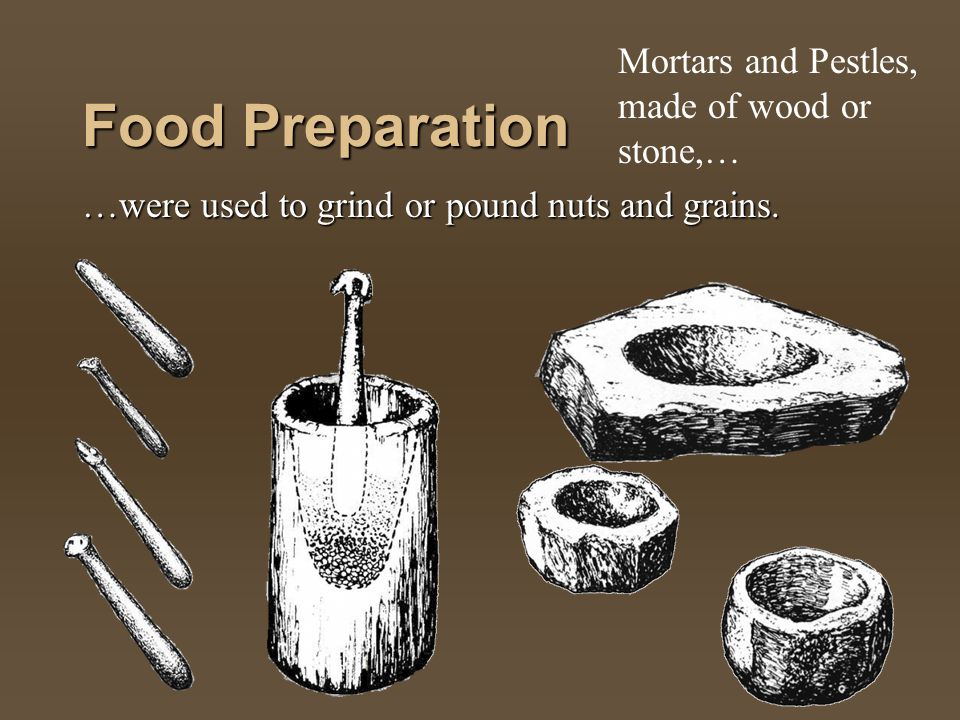 Food Preparation Mortars and Pestles, made of wood or stone,…