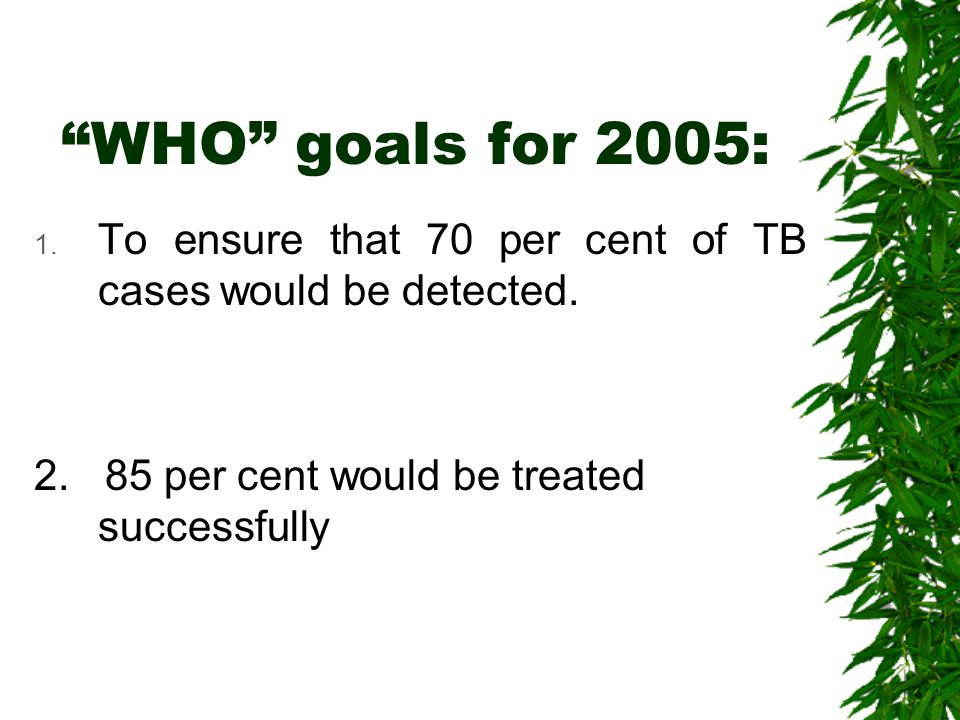 WHO goals for 2005: To ensure that 70 per cent of TB cases would be detected.