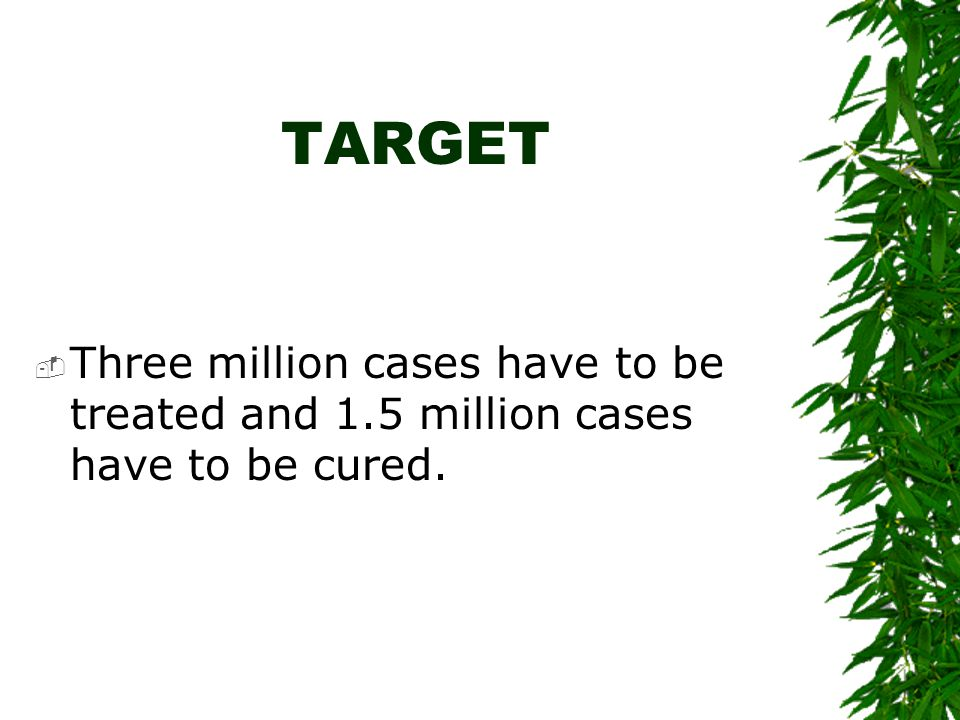 TARGET Three million cases have to be treated and 1.5 million cases have to be cured.