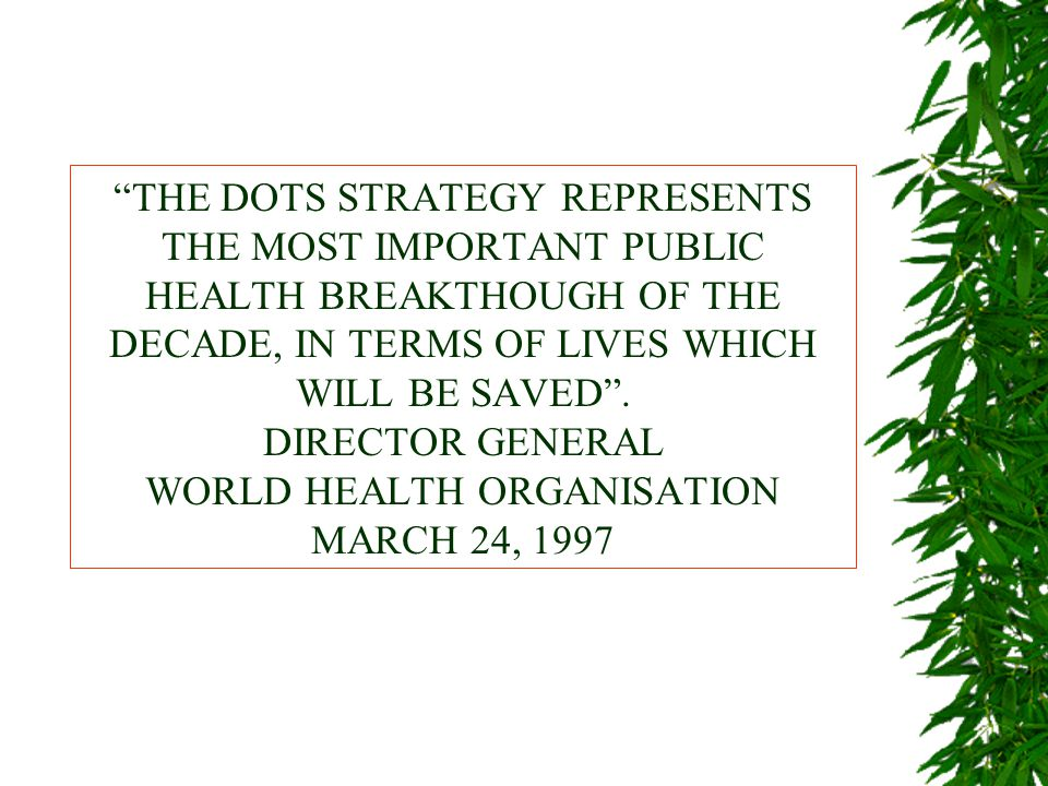 THE DOTS STRATEGY REPRESENTS THE MOST IMPORTANT PUBLIC HEALTH BREAKTHOUGH OF THE DECADE, IN TERMS OF LIVES WHICH WILL BE SAVED .