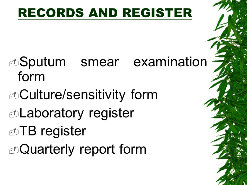 Sputum smear examination form Culture/sensitivity form