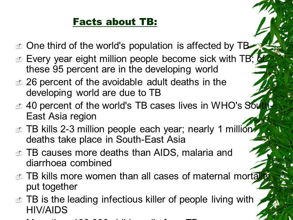 Facts about TB: One third of the world s population is affected by TB.
