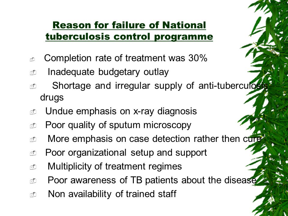 Reason for failure of National tuberculosis control programme