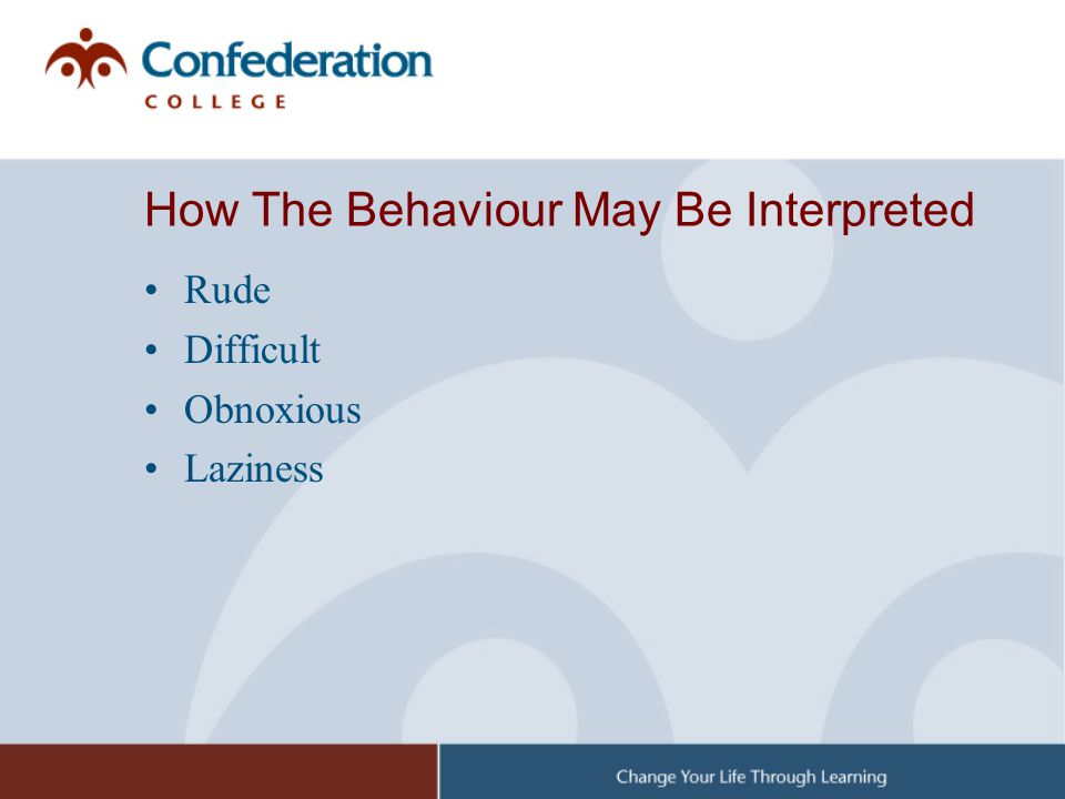 How The Behaviour May Be Interpreted