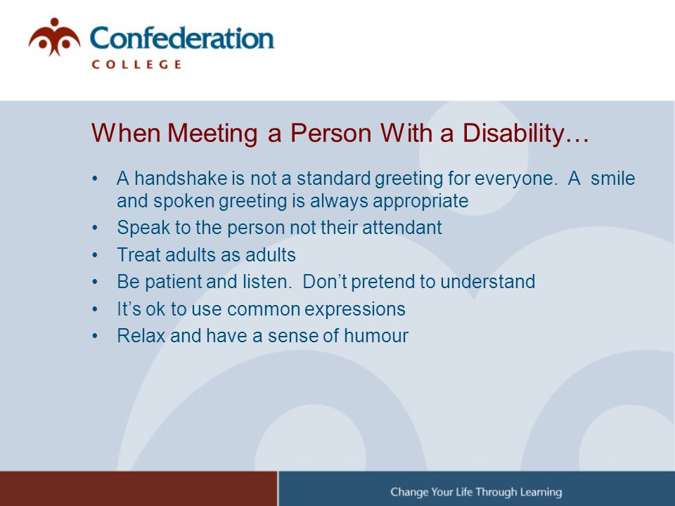 When Meeting a Person With a Disability…
