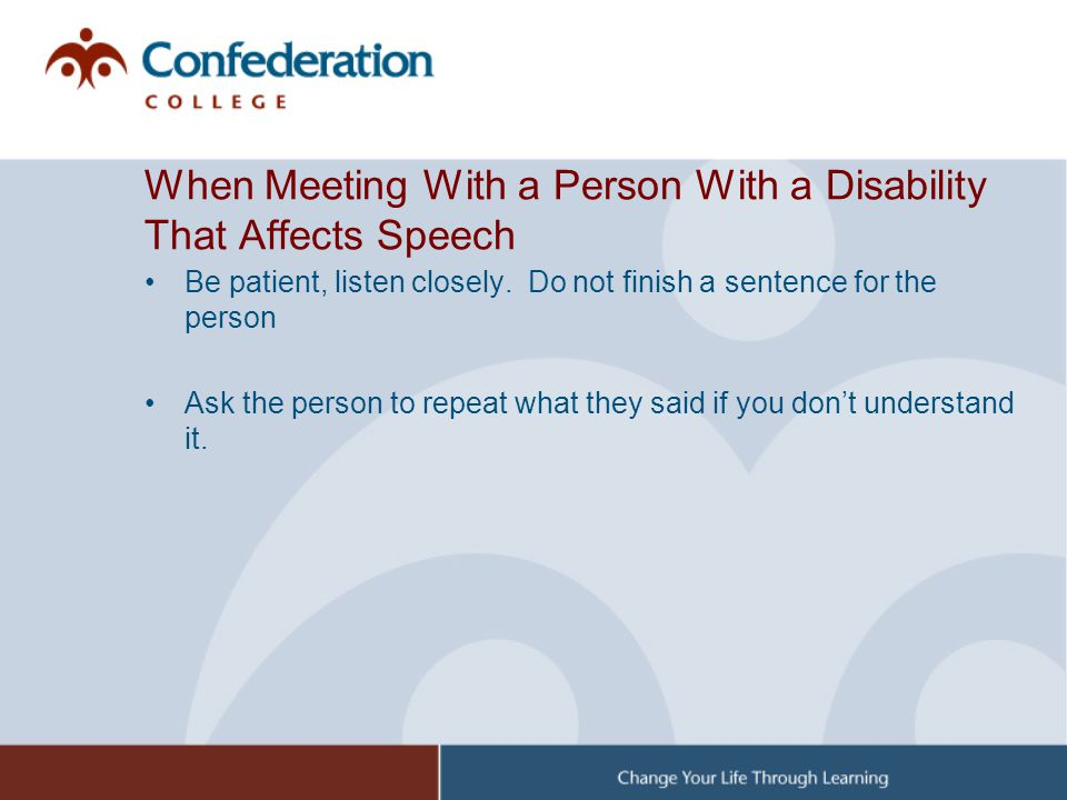 When Meeting With a Person With a Disability That Affects Speech