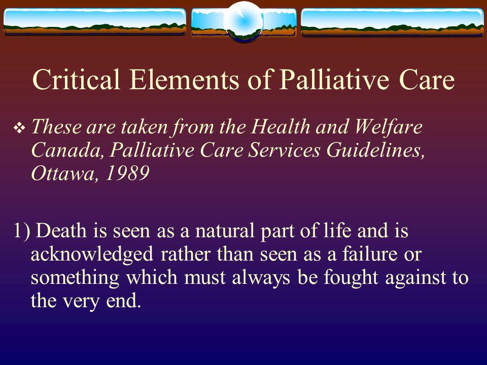 Critical Elements of Palliative Care