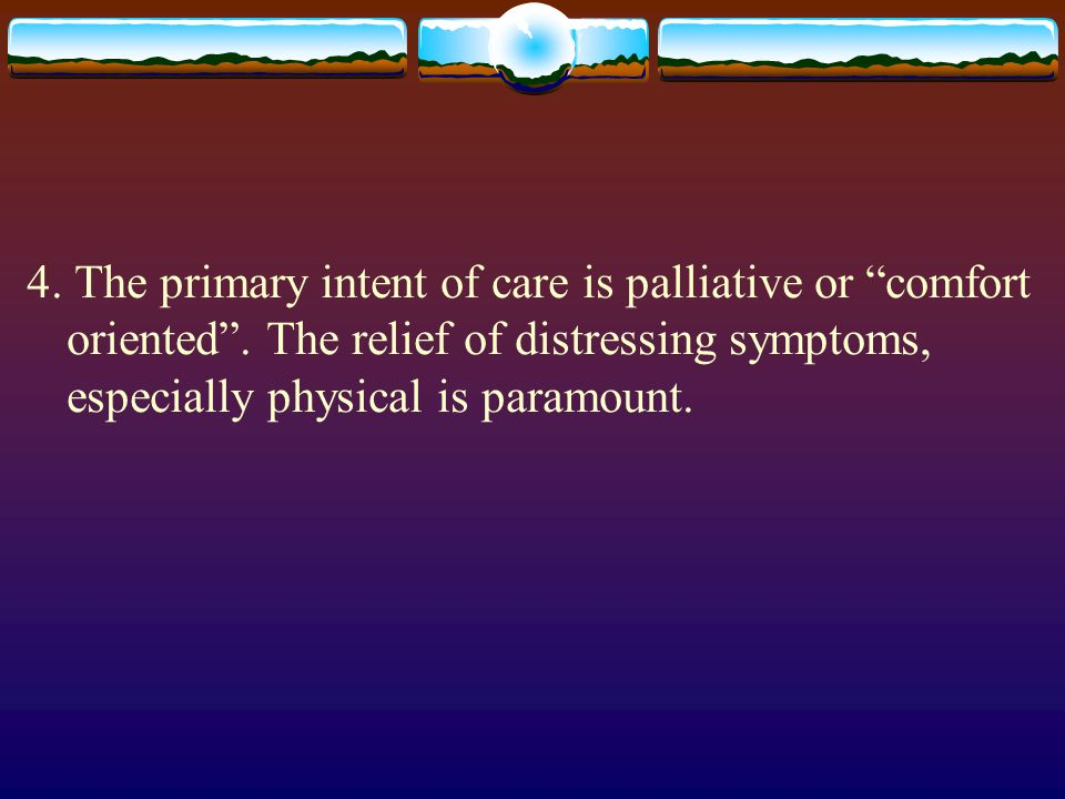 4. The primary intent of care is palliative or comfort oriented