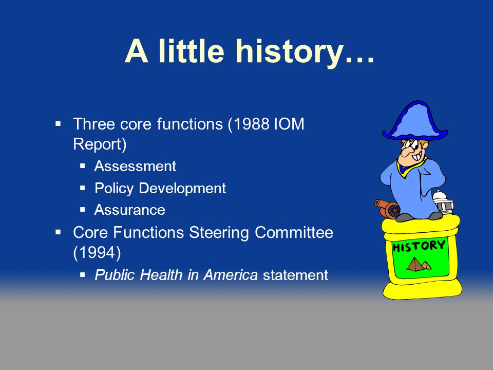 A little history… Three core functions (1988 IOM Report)